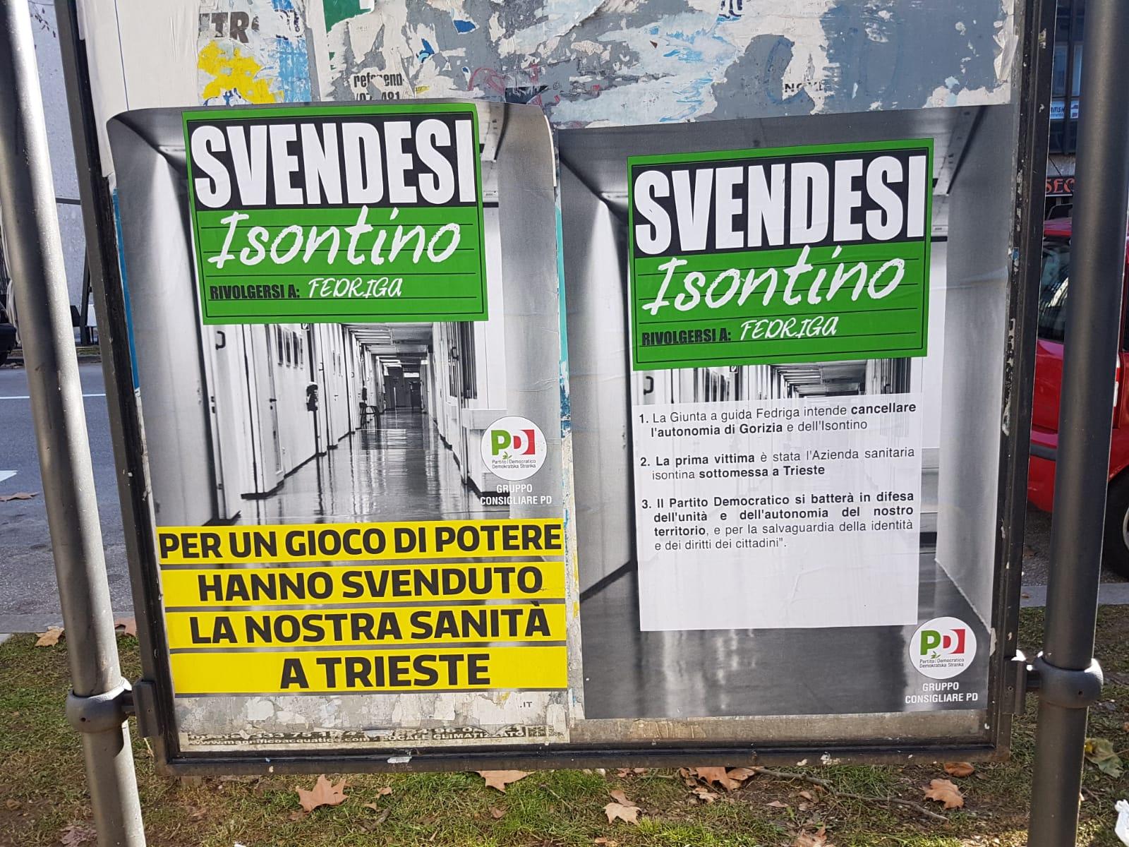 In città manifesti del PD contro la soppressione dell'azienda sanitaria