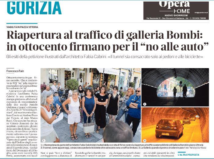 Oltre 800 firme contrarie alle auto in Galleria Bombi